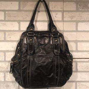 Handbags - Black genuine leather piping bag